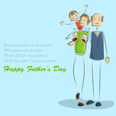Father and son in Father's Day background — Stock Vector