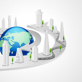 Buildings around Globe — Stock Vector
