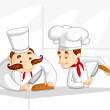 Chef cooking in Kitchen — Stock Vector