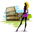 Woman near Colosseum in Rome — Stock Vector