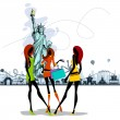 Women near Statue of Liberty — Stock Vector