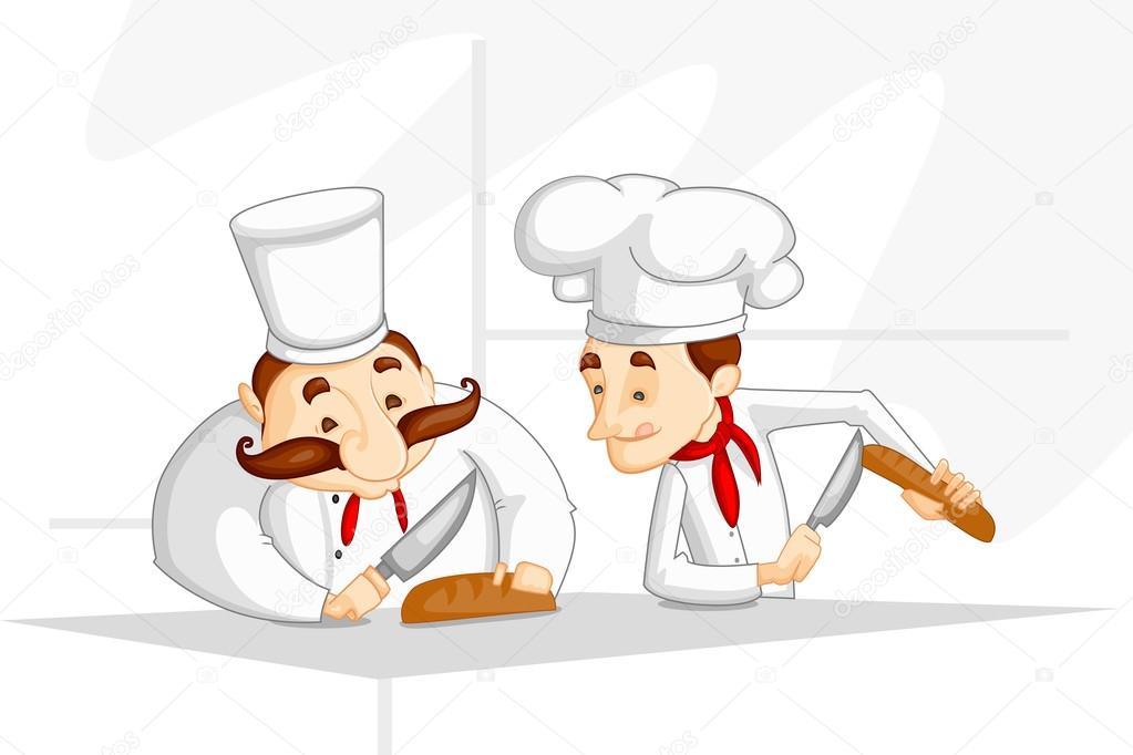 在厨房里做饭的厨师矢量图