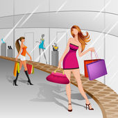 Women doing Shopping — Stock Vector