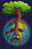 Ağaç kök holding dünya — Stok Vektör