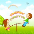 Kids riding on seesaw for Friendship Day — Stock Vector #28991807