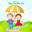 Friend celebrating Friendship Day in rain — Vector de stock