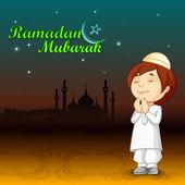 Muslim offering namaaz for Eid — Stock Vector