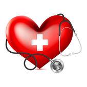 Corazón de envoltura de estetoscopio — Vector de stock