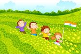 Kinderen met indiase vlag — Stockvector