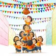 Stock Vector: Boys at playing Dahi Handi in Janmashtami