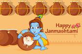 Lord Krishna stealing makhaan in Janmashtami — Stock Vector