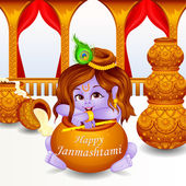 Lord Krishna stealing makhaan in Janmashtami — Stock Vector