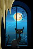 Gatto nero nella notte di halloween — Vettoriale Stock