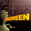 Scary Mummy wishing Happy Halloween — Stockvectorbeeld