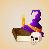 Witch Hat on antique book with skull — Stock Vector