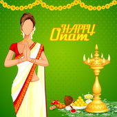 Lady wishing Happy Onam — Stok Vektör
