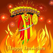 Ravana burning in Dussehre — Stock Vector