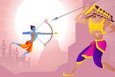 Rama zabíjení ravana v dussehra — Stock vektor