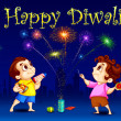 kids enjoying diwali — Stock Vector