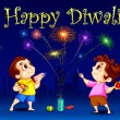 Stock Vector: Kids enjoying Diwali
