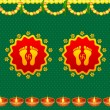 Footprints of Goddess Lakshami on Diwali — Imagen vectorial