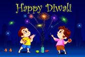 Kids enjoying Diwali — Stock Vector