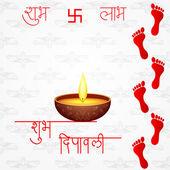 Huellas de la diosa lakshami en diwali — Vector de stock