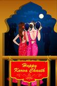 Indian Lady celebrating Karwa Chauth — Stock Vector