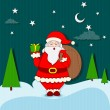 Santa Claus standing with Christmas gift — Stock Vector
