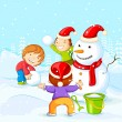 Kids making Snowman for Christmas — Stock Vector #34546379