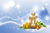 Lantern in Christmas Night — Stockvektor