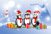 Penguin in Christmas Night — Vector de stock
