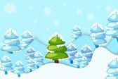 Snowy Pine Tree — Stock Vector