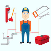 Plumber with Tool — Stock Vector