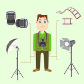 Photographer with Camera — Stock Vector