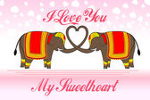 Cute Elephants forming heart shape — Vector de stock