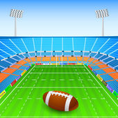 Rugby Ball on Stadium — Stock Vector