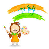 Kid painting tricolor India — Stock Vector