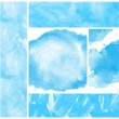 Set of blue watercolor abstract hand painted backgrounds — Stock Photo #32582271