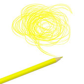 Yellow colored pencil drawing — Stock Photo