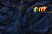 Pencils in jeans pocket — Stockfoto