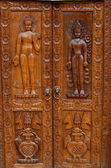 Buddha wood carving — Stock Photo