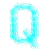 Blue handwritten Q letter — Foto de Stock