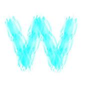 Blue handwritten W letter — Stock Photo