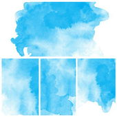 Set of Abstract blue water color art — Stockfoto