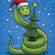 Stock Vector: Christmas Snake Cartoon