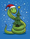 Christmas Snake Cartoon — Stock Vector
