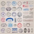 Vector Set of Vintage Postage Stamps — Stock Vector