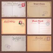Cartes postales vintage de vecteur — Vecteur