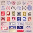 Vintage Postage Stamps, Marks And Stickers — Stok Vektör